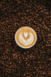 Coffee art and coffee beans