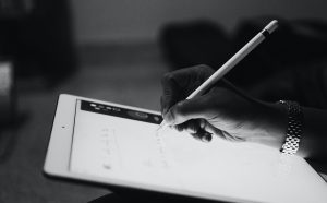 Scribe on tablet with stylus